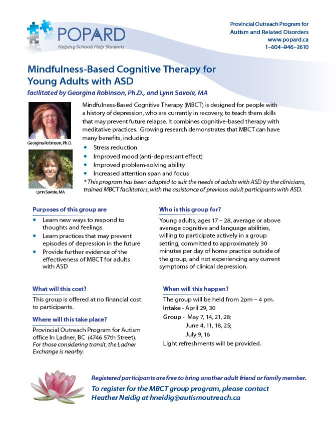 Mindfulness-Based Cognitive Therapy for Young Adults with ASD