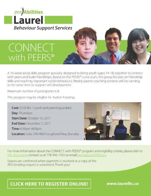 Connect with PEERS for teens (ages 14 - 18)