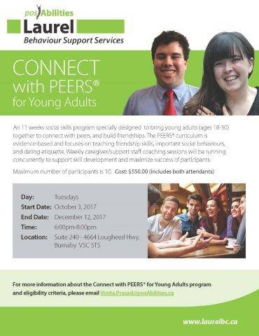 Connect with Peers for Young Adults Poster (aged 19 - 30)
