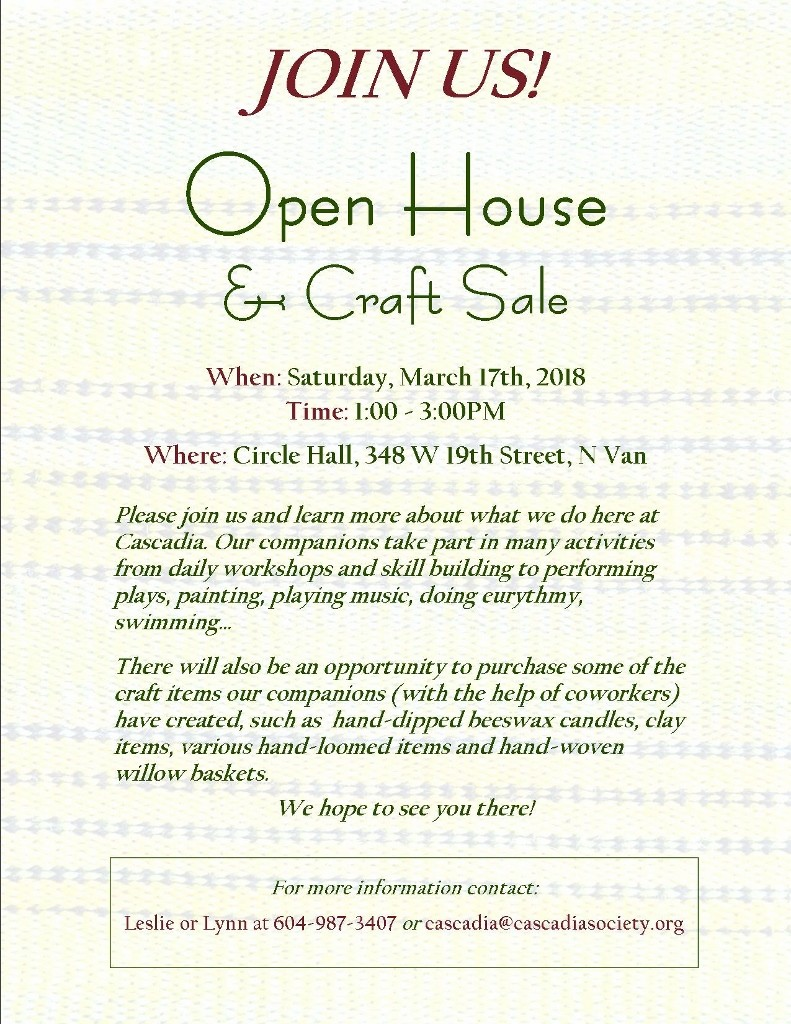 Cascadia Society Open House & Craft Sale