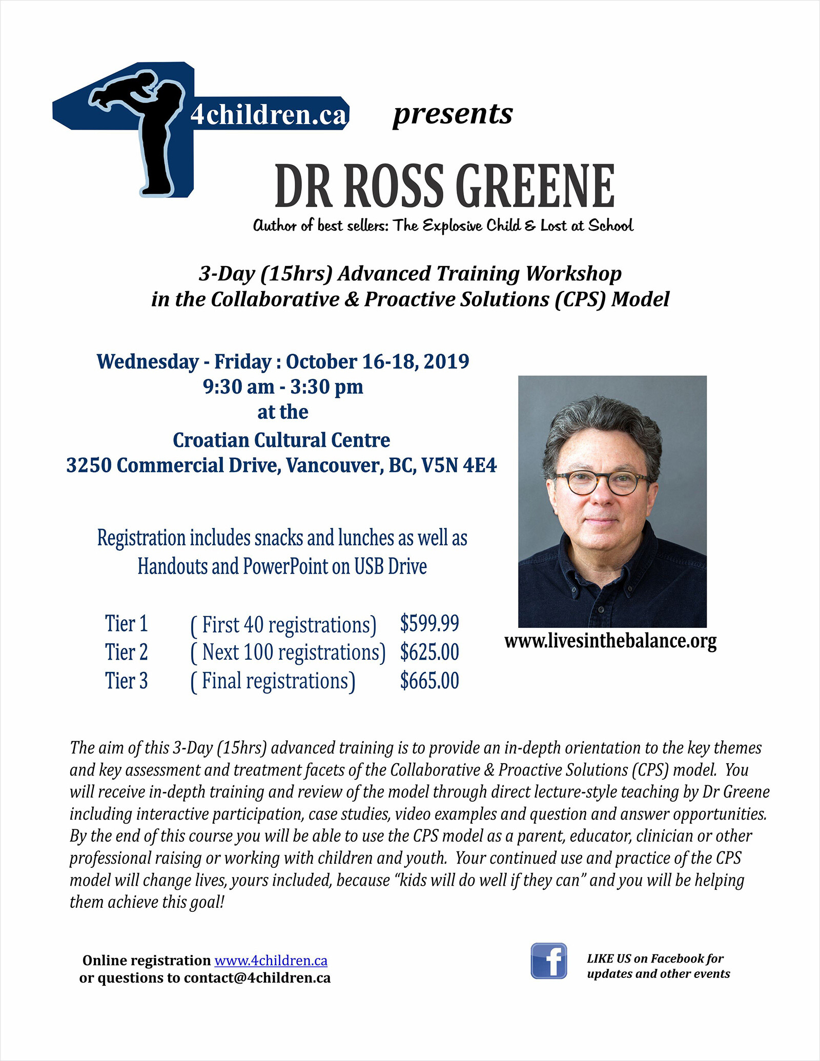 3-Day Advanced Training Workshop with Dr Ross Greene
