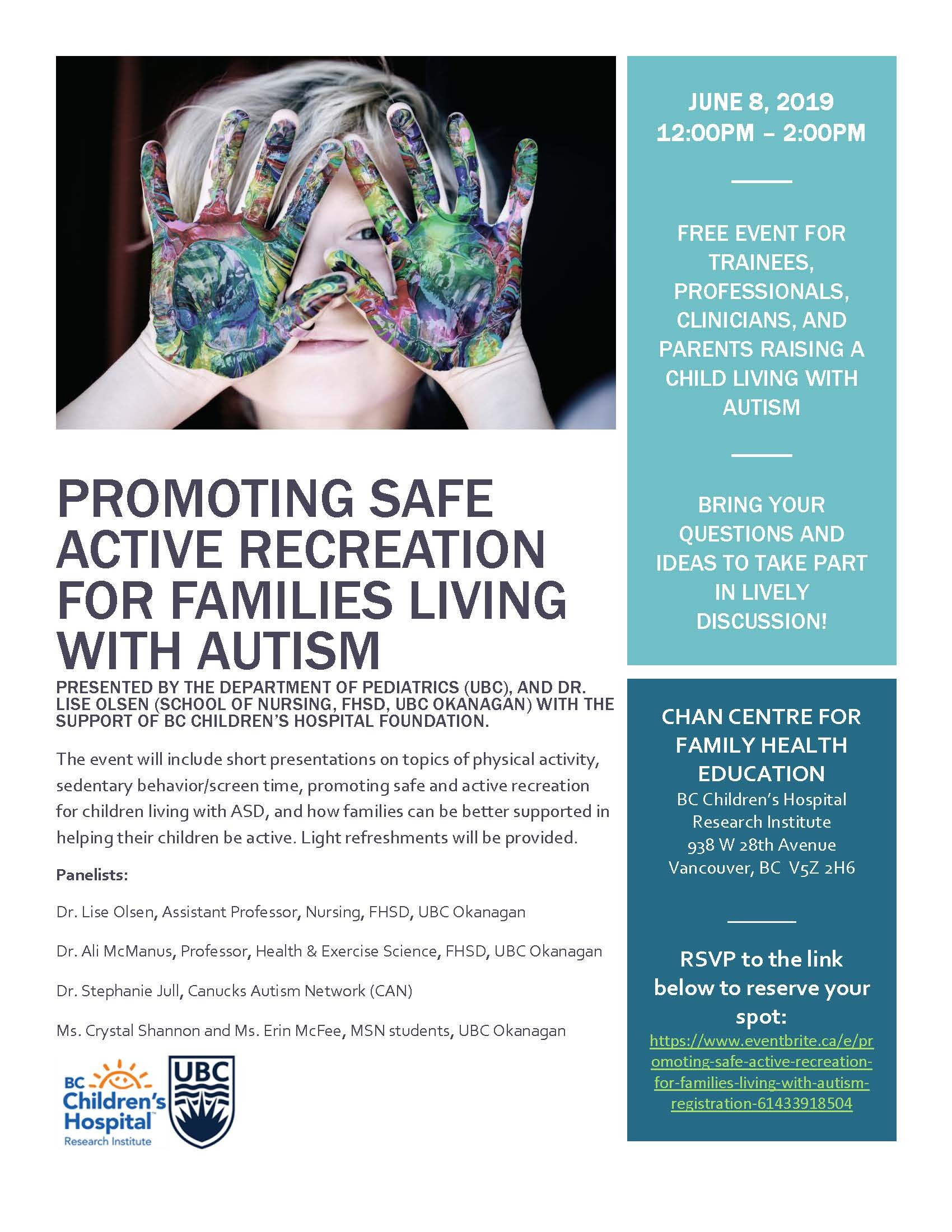 Promoting Safe Active Recreation for Families Living with Autism Spectrum Disorders
