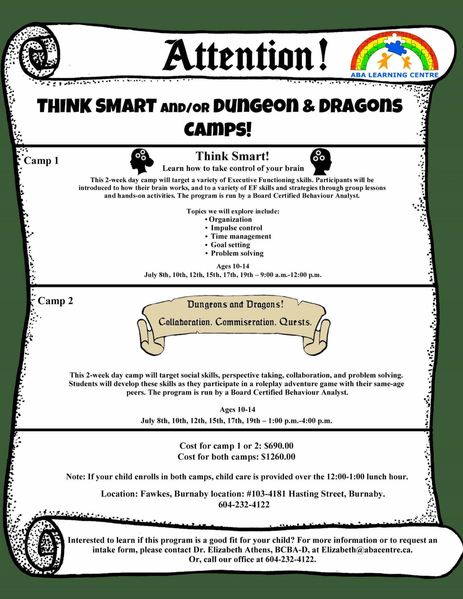 Think Smart and Dungeons & Dragons Summer Camps
