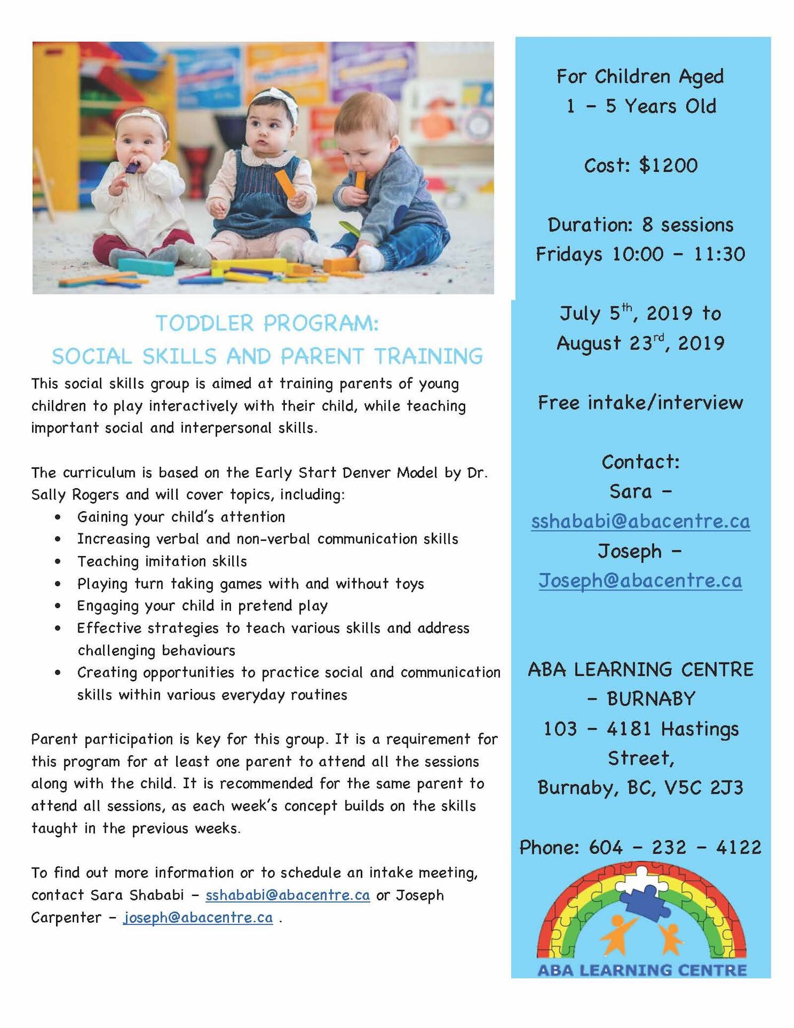 Toddler Program and Parent Training