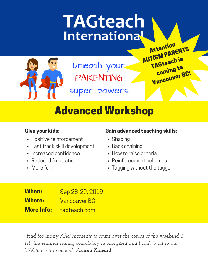 TAGteach Workshop for Parents and Professionals