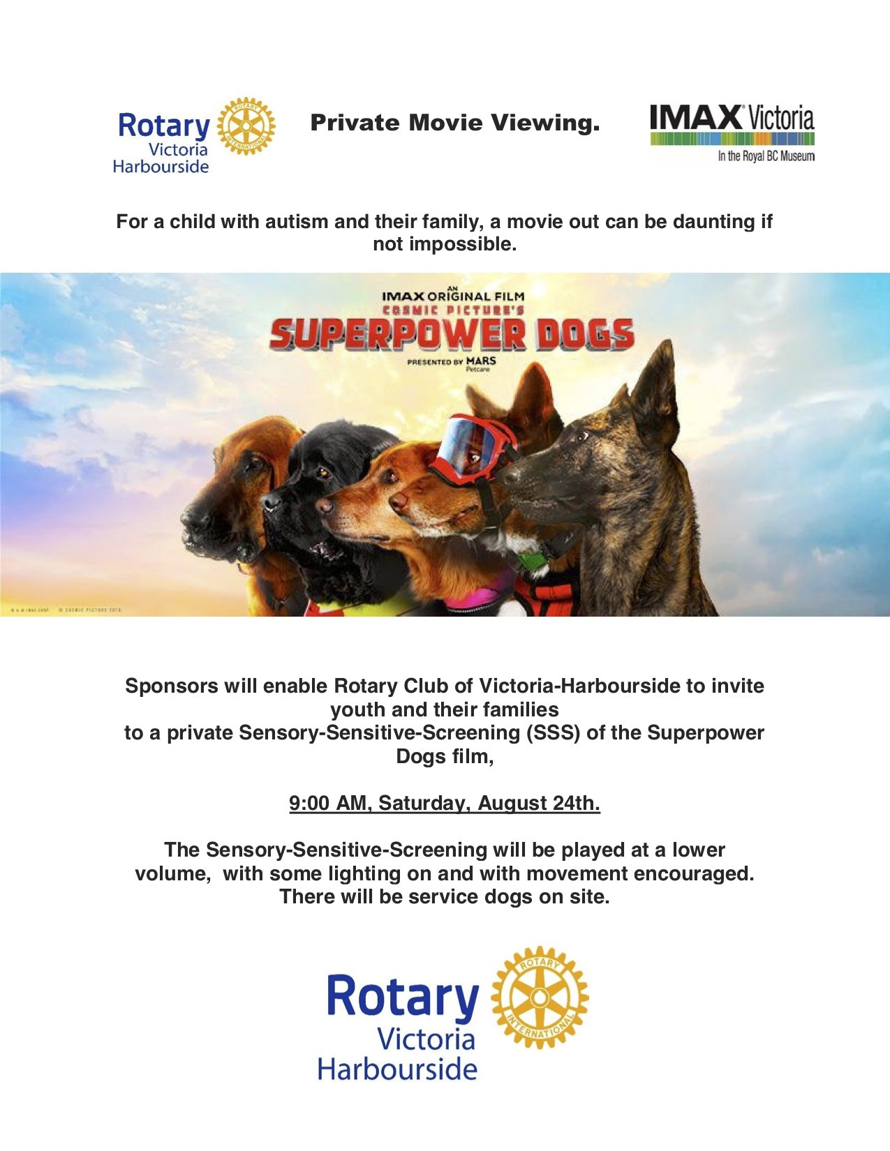Sensory-Sensitive-Screening of the Superdogs Film at the Victoria IMAX