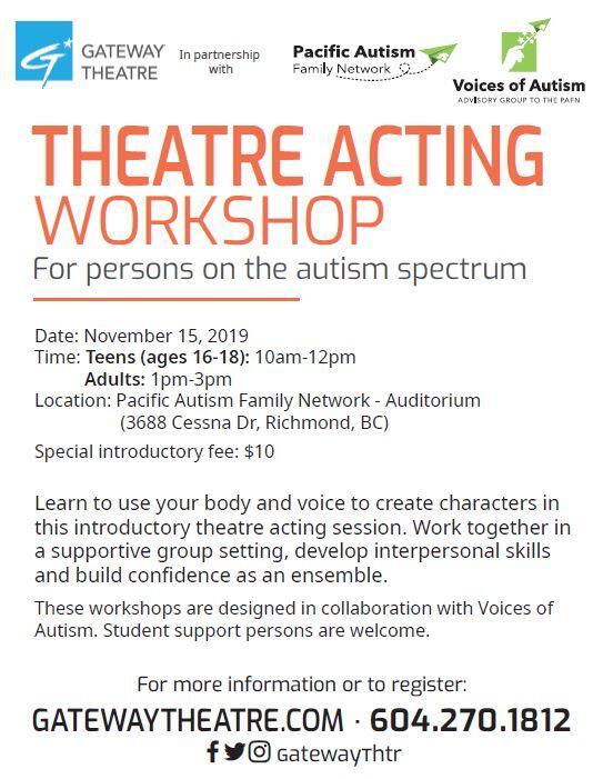 Acting Workshop for Adults with Autism Spectrum Disorder