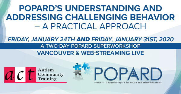 POPARD's Understanding and Addressing Challenging Behavior – A Practical Approach Friday, January 24th AND Friday, January 30th, 2020 A Two-Day POPARD SuperWorkshop