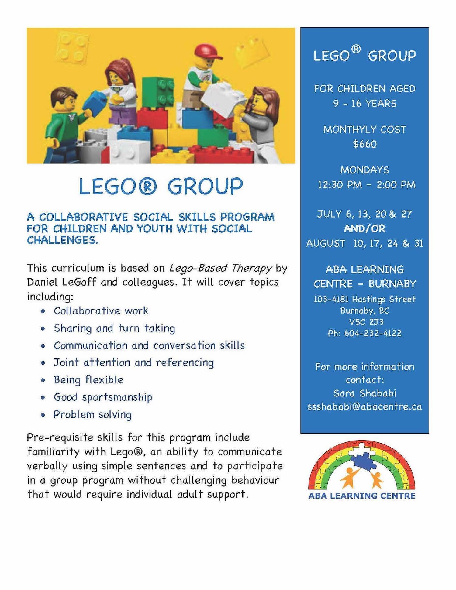Lego Group: A Summer Social Skills Group