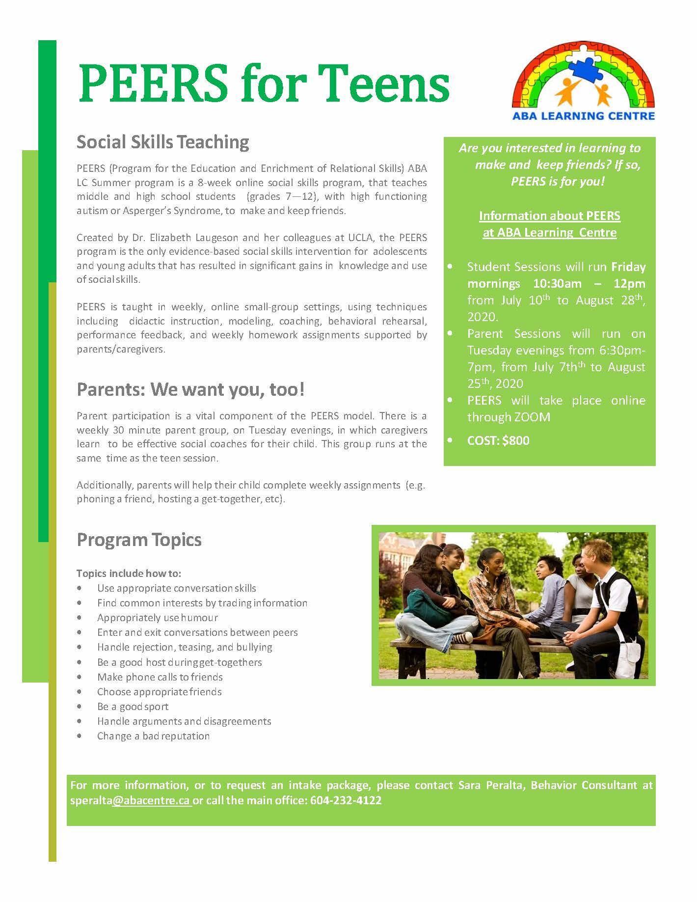 Peers for Teens -  Online Adapted Summer program
