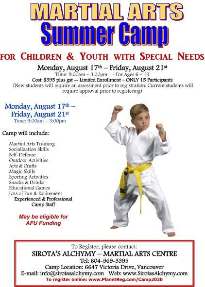 Martial Arts Summer Camp for Children with Special Needs