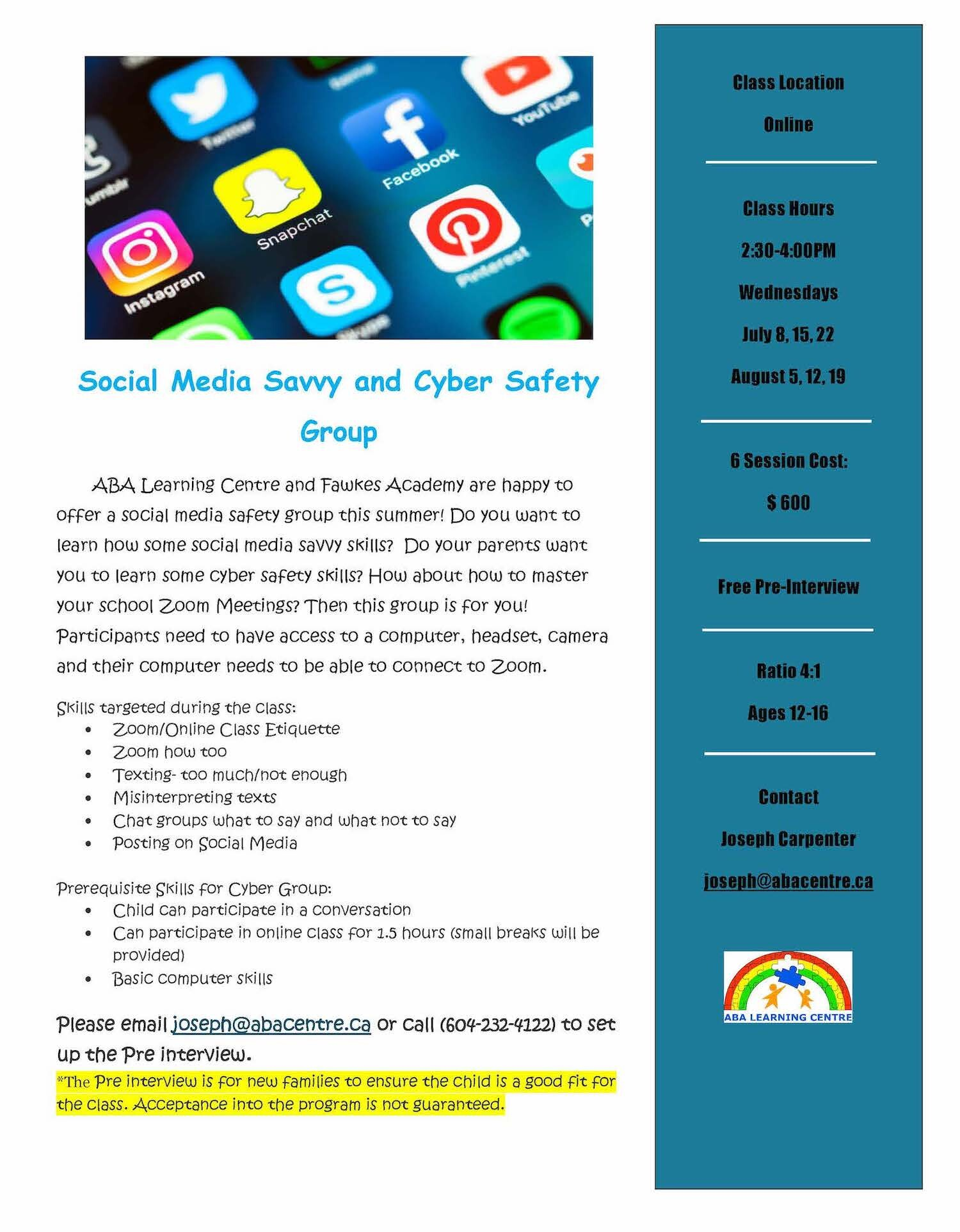 Social Media Savvy and Cyber Safety Group