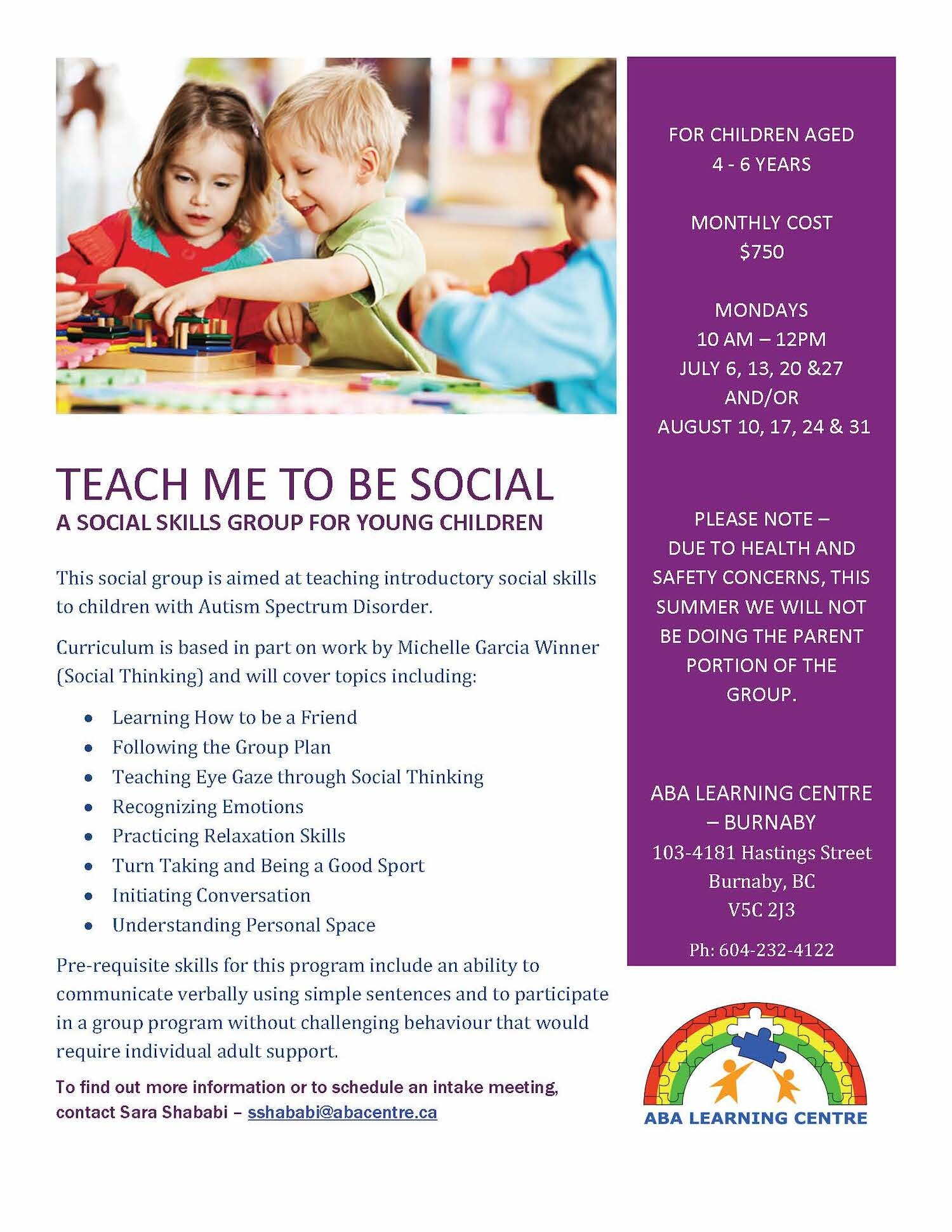 Teach me To be Social - Summer Program for Kindergarten Prep