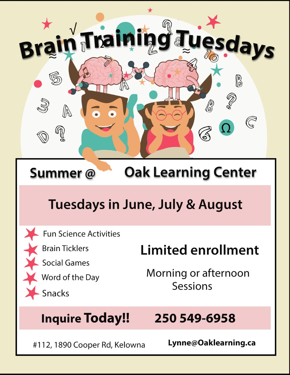 Brain Training Tuesdays @ Oak Learning Centre Kelowna