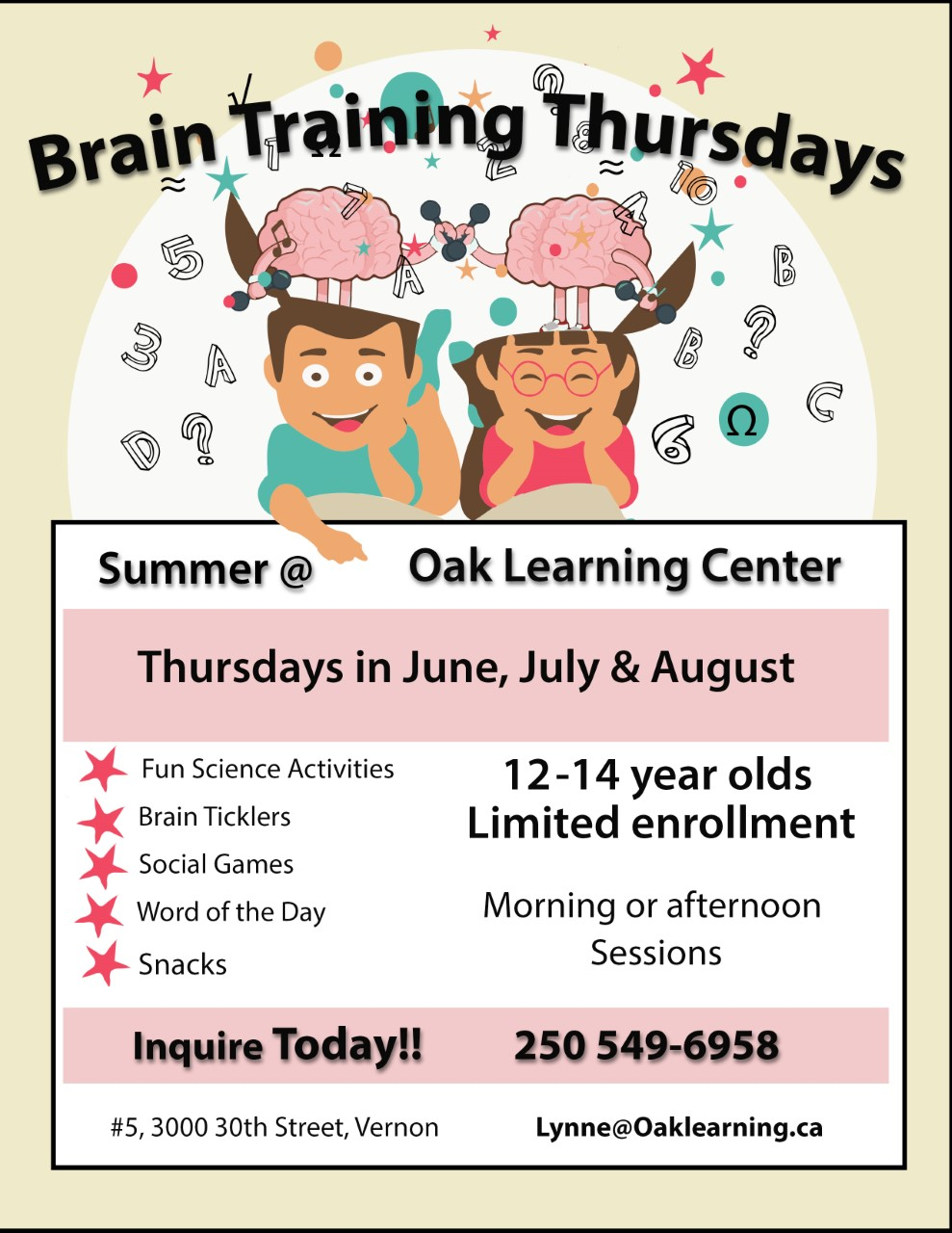 Brain Training Tuesdays @ Oak Learning Centre Vernon