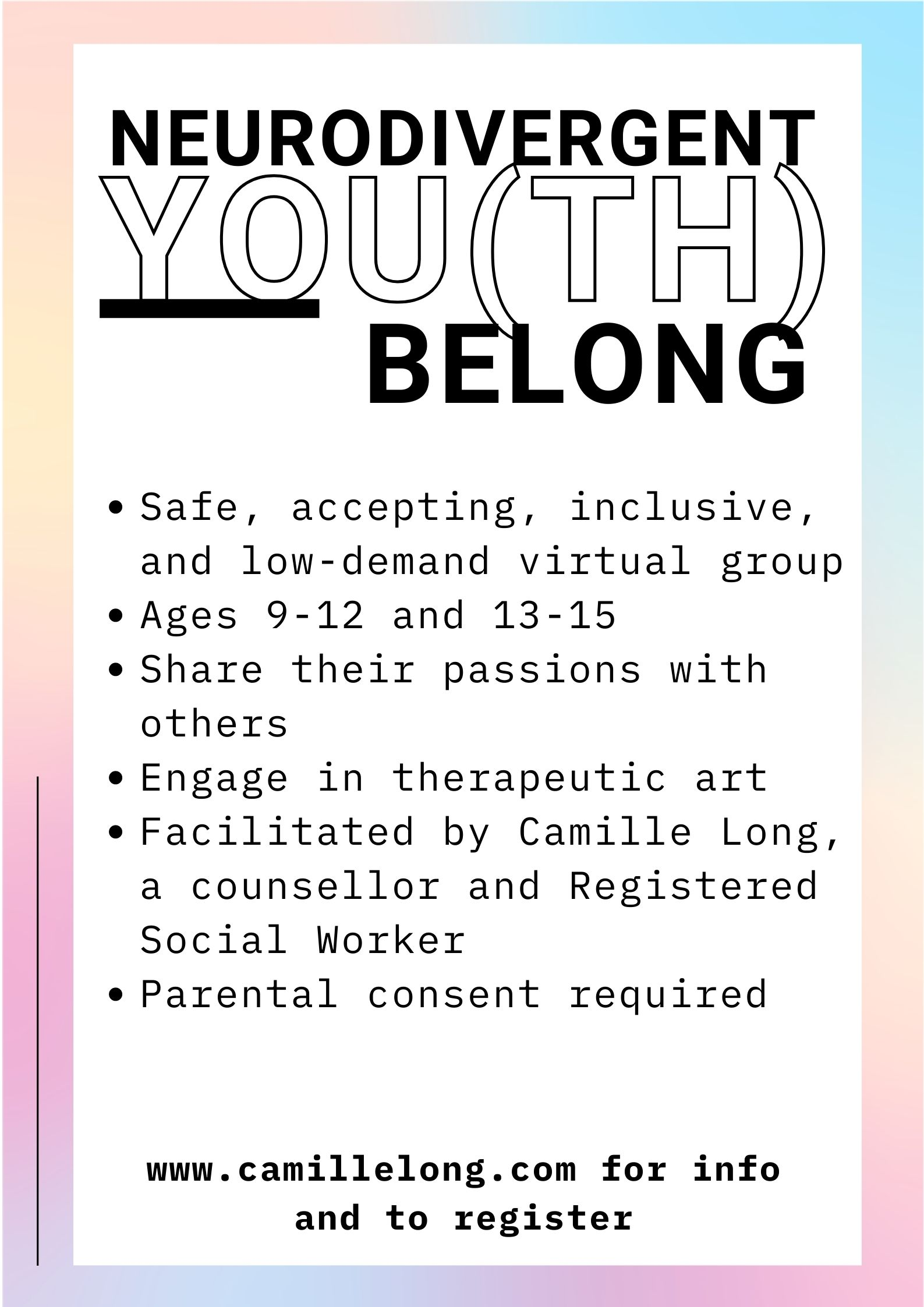 You(th) Belong - Groups for Neurodivergent Youth aged 9-12 & 13-15