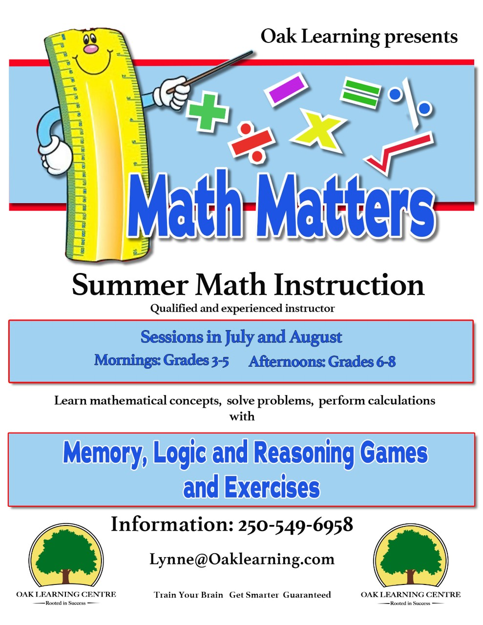 Math Matters Group - Summer Sessions @ Oak Learning Centre (Grades 3-8)