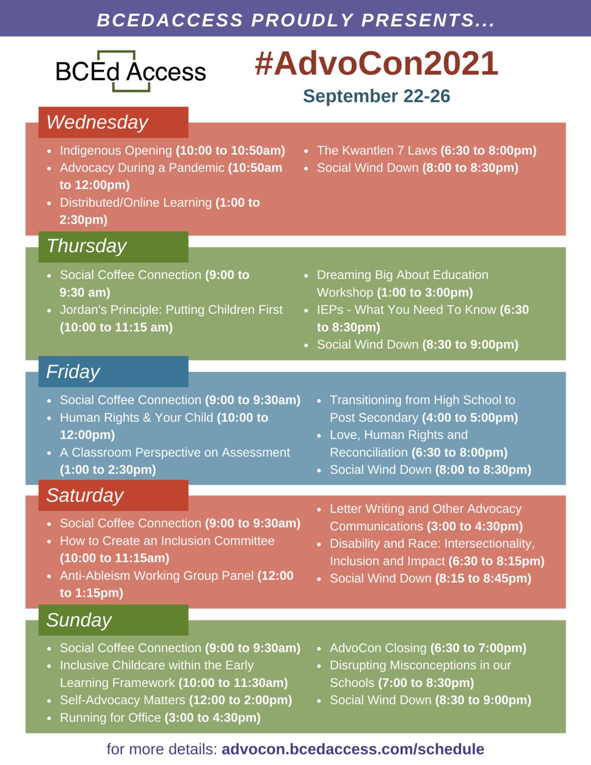 AdvoCon2021 Schedule